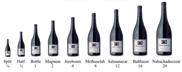 bottles of wine in sizes
