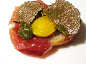 Haut Brion Ham Eggs 300x225 Jean Philippe Delmas Haut Brion and other wines shared over dinner