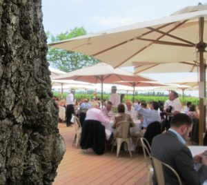 Cheval Blanc Lunch outdoors 300x268 2010 Cheval Blanc, High Prices, Stunning New Cellars in St. Emilion